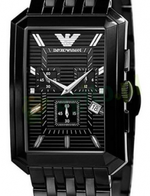 Emporio Armani Men's AR0475 Black Stainless-Steel Quartz Watch with Black Dial