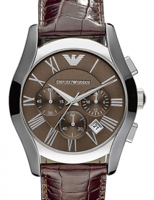 Emporio Armani Men's AR0671 Chronograph Brown Dial Brown Leather Watch