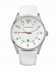 Armani Classic Silver Men's Ar5862 Leather Watch-0