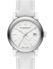 Burberry BU9128 Check Stamped Leather Ladies Watch