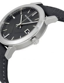Burberry BU9030 Grey Dial Black Polyvinl Mens Watch