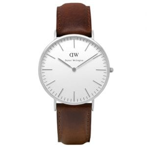 Daniel Wellington 0209DW Bristol Unisex Silver 40mm Watch with Leather Band