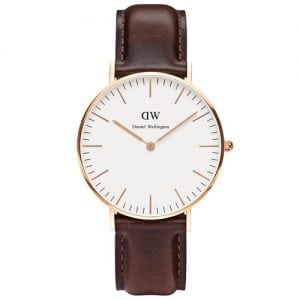 Daniel Wellington 0511DW Bristol Ladies' Classic Rose Gold Leather Band Watch 36mm