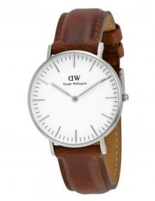 Daniel Wellington 0607DW St. Andrews Unisex Classic White Watch with Brown Leather Band 36mm