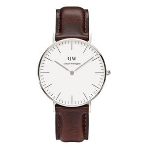 Daniel Wellington 0611DW Bristol Ladies' Classic Silver Watch with Brown Leather Band 36mm