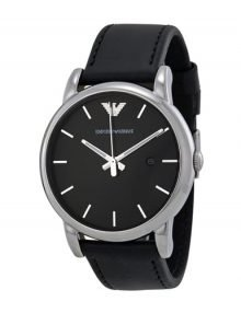 Emporio Armani AR1692 Mens Classic Black Dial Watch with Black leather Band