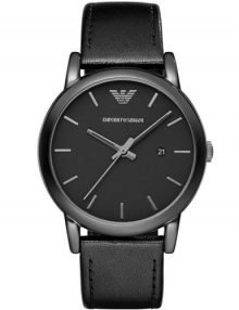 Emporio Armani AR1732 Mens Classic Black Dial Black leather Strap Watch