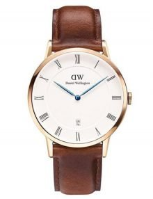 Daniel Wellington 1100DW Dapper St. Mawes Rose Gold Case Males Watch with Brown Leather Band
