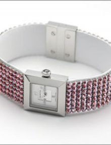 Swarovski Elis Women's Silver Leather Pink Diamonds 1183537 Watch-8129