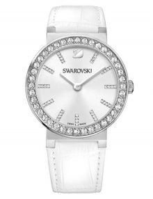 Swarovski 1185826 Citra Sphere Silver Dial Stainless Steel Crystal Case Watch with White Leather Strap