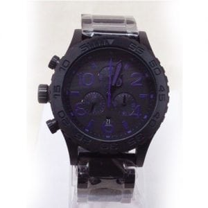 Nixon A037714 CHRONO ALL BLACK / PURPLE Watch