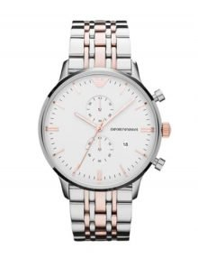 Emporio Armani Classic Gents'stainless steelstainless steel & rose gold plated stainless steel Back White Chronograph Watch AR0399