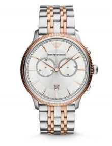 Emporio Armani AR1826 Mens rose gold plated stainless steel Two Tone Chronograph Watch