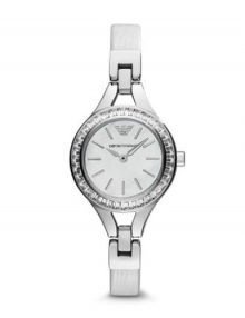 Emporio Armani AR7353 Womens White Leather Band & Dial Watch with 28mmstainless steelstainless steel case