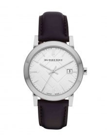 Burberry BU9008 The City Large Check Black Leather Bandstainless steel Classic Gents Watch