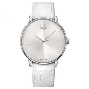 Calvin Klein K2Y2X1K6 Accent Womens Classic White Leather Watch