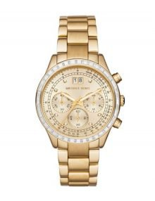 Michael Kors MK6187 Womens Brinkley gold plated stainless steel Dial Chronograph Watch with gold plated stainless steelstainless steelstainless steel Band