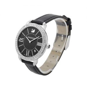 Swarovski Aila Day Black Womens' 5172151 Leather Roman Letter Watch-11613