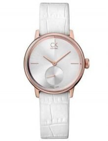 Calvin Klein K2Y236K6 Accent Women's White Dial Rose Gold PVD Leather Watch