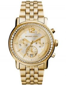 Michael Kors MK5982 Baisley Women's Gold Dial Crystal Bezel Chronograph Bracelet Watch