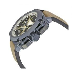 Diesel Bamf Silver Mens' Dz7342 Leather Funky Watch-13885