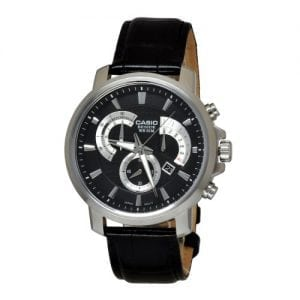 Casio BEM-506L-1AVEF Beside Gents Black Leather Chronograph Watch