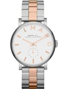 Marc Jacobs Ladies White Mid Size Dial Two Tone Rose Gold Slim Baker MBM3312 Watch