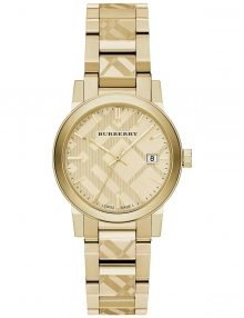Burberry Women's 34mm Gold Check Stamped Stainless Steel