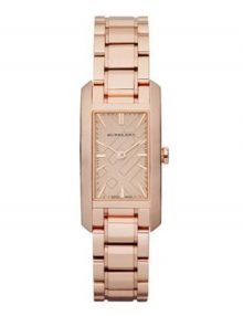 Burberry Check Engraved Rectangle Ladies-small rose gold plated stainless steel Dialstainless steelstainless steel Watch BU9502