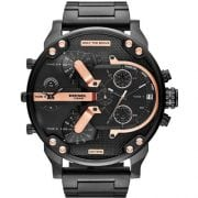 Diesel DZ7312 Men's The Daddies Series Black / rose gold plated stainless steel Four Time Dial Quartz Black Watch