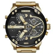 Diesel DZ7333 Mr. Daddy 2.0 Double Disc Jump Hour gold plated stainless steel Toned Black Mens Four Time Zones Watch
